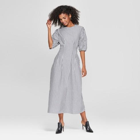 Women s Striped Puff Sleeve Midi Dress - Who What Wear™ Black White ... fe0e067db9