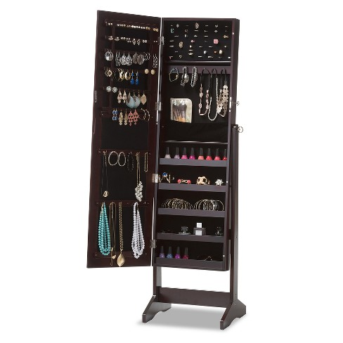 Alena Wood Free Standing Cheval Mirror Jewelry Armoire ...