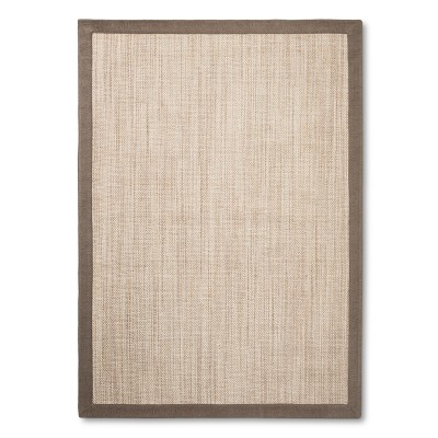7'X10' Solid Woven Boarder Area Rug Tan - Threshold™