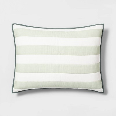 Engineered Stripe Standard Pillow Sham Green - Hearth & Hand™ with Magnolia