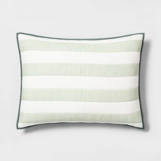 Standard Sham Engineered Stripe Green - Hearth & Hand™ with Magnolia