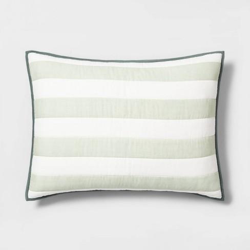 Standard Sham Engineered Stripe Green - Hearth & Hand™ with Magnolia - image 1 of 6