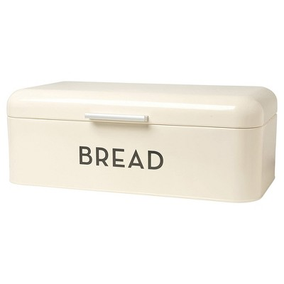 Now Designs 16 x 6.5 x 9 Inch Large Metal Bread Loaf Keeper Storage Container Bin with Hinged Lid for Home Kitchen Countertop, Ivory