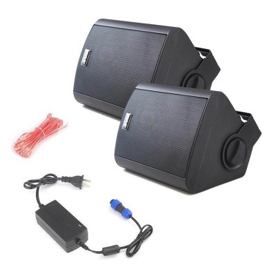 Pyle PDWR52BTBK 5.25 Inch 240 Watt Bluetooth Stereo Speaker System with Mount for Indoor or Outdoor Waterproof Theater Surround Sound, Black (2 Pack)