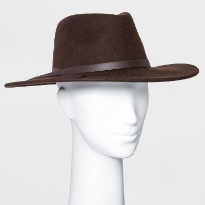 Women's Wide Brim Felt Fedora Hat - Universal Thread™ Brown