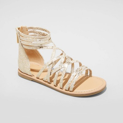 Girls' Dion Gladiator Ankle Strap Sandals - Cat & Jack™ Gold