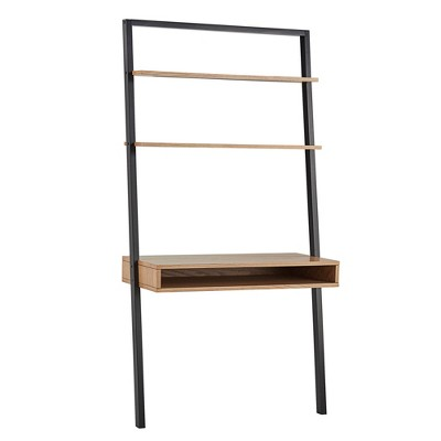 """Portay 38"""" Leaning Desk and Ladder Shelves Two-Tone Black/Oak Brown - Inspire Q"""
