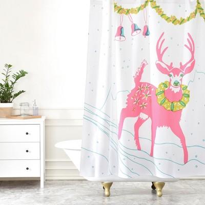 Holiday Deer Shower Curtain Pink - Deny Designs
