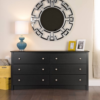 6 Drawer Dresser Black - Prepac