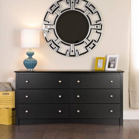 6 Drawer Dresser Black - Prepac - image 1 of 4