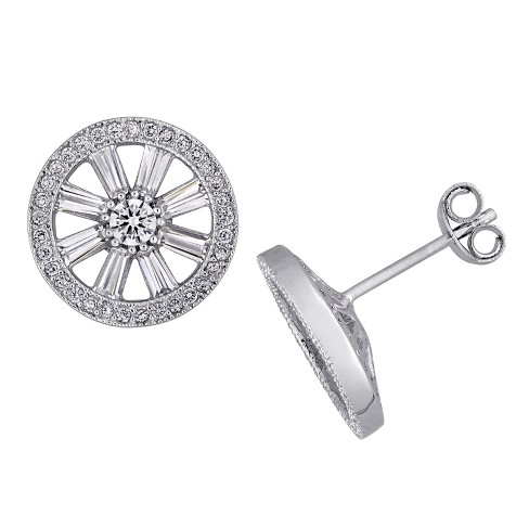1.75 CT. T.W. Baguette and Round Cubic Zirconia Vintage Pinwheel Stud Earrings in Sterling Silver - image 1 of 1