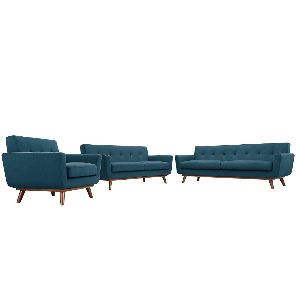 Engage Sofa Loveseat and Armchair Set of 3 Azure (Blue) - Modway