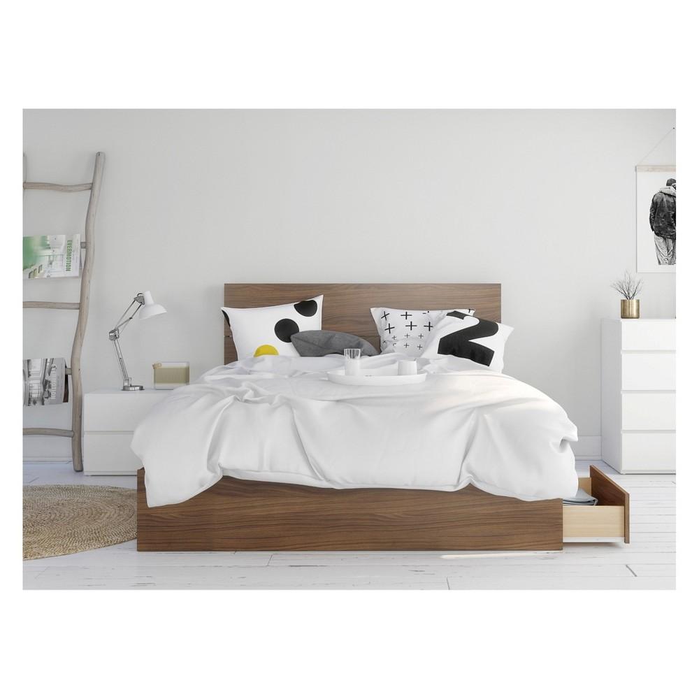 Image of 3pc Hera Bedroom Set Queen Walnut/White - Nexera