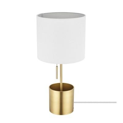 "19"" Pratt Table Lamp with Fabric Shade White - Globe Electric"