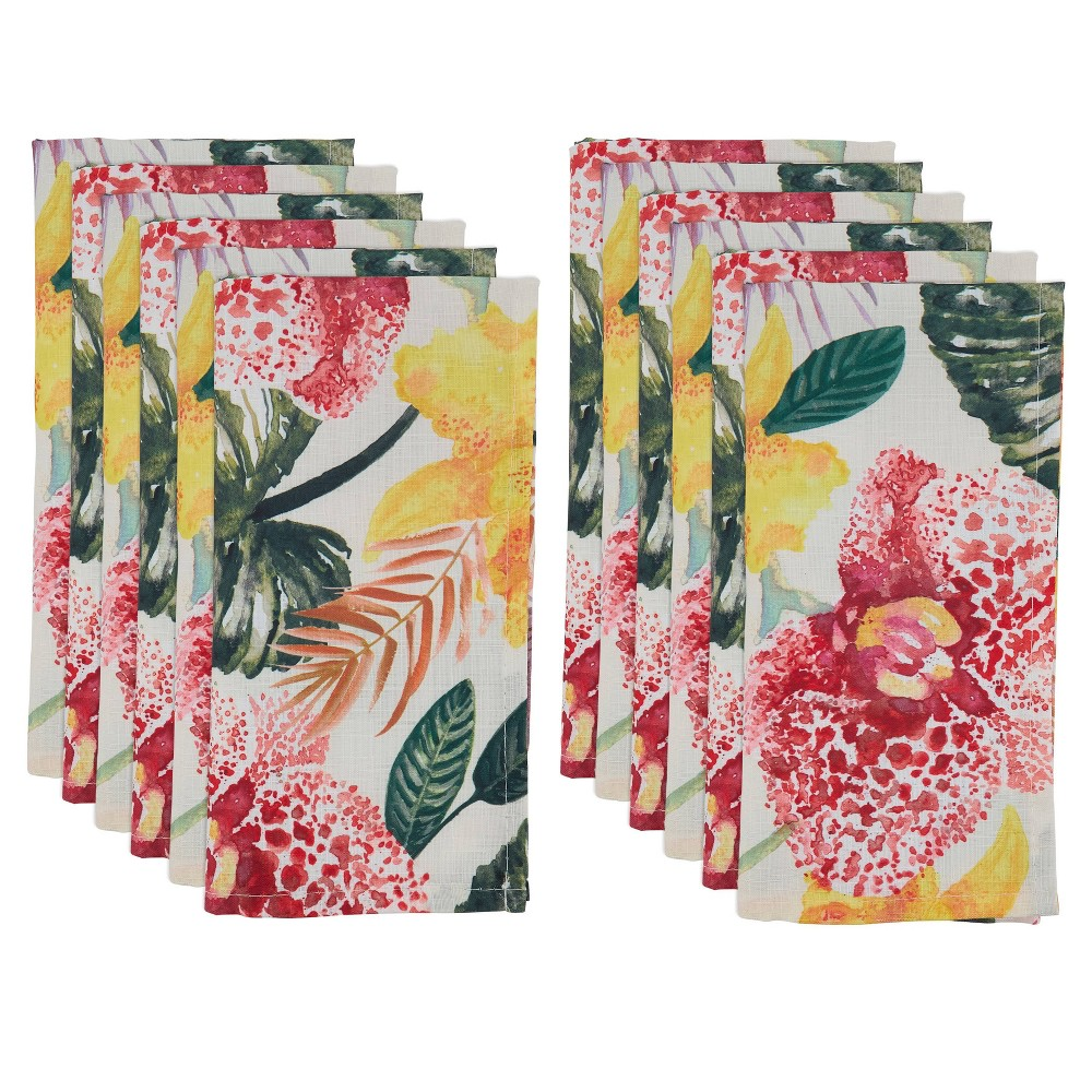 Image of 12pk Polyester Lanai Floral Design Table Napkins - Saro Lifestyle