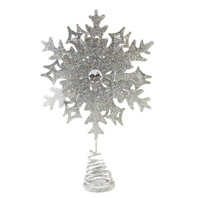 """Tree Topper Finial 10.5"""" Glittered Snowflake Christmas Tree Topper  -  Tree Toppers"""