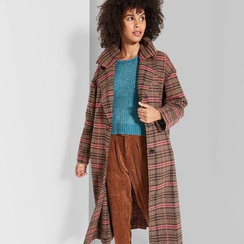 Women's Plaid Long Sleeve Oversized Button-Front Wool Coat - Wild Fable™ Brown/Pink - image 1 of 3