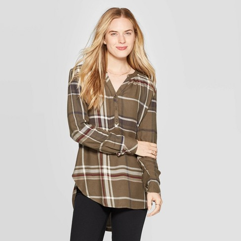 Women's Plaid Long Sleeve V-Neck Rayon Twill Tunic - Universal Thread™ Green - image 1 of 3