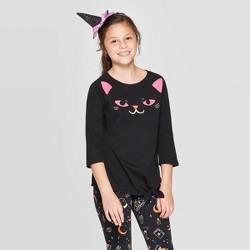 Girls' 3/4 Sleeve Sequin Cat Halloween Top - Cat & Jack™ Black