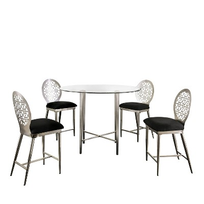 5pc Chalee Counter Height Dining Set Silver - miBasics