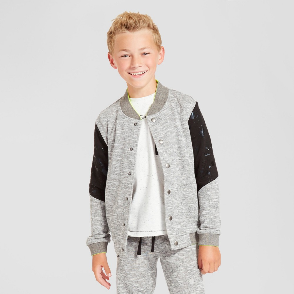 Kind is Cool Boys' Baseball Jacket Gray and Black - S