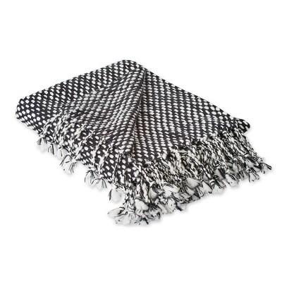 Textured Acrylic Throw Blanket Black/White - Design Imports