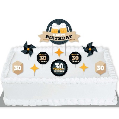 Big Dot of Happiness Cheers and Beers to 30 Years - Birthday Party Cake Decorating Kit - Happy Birthday Cake Topper Set - 11 Pieces