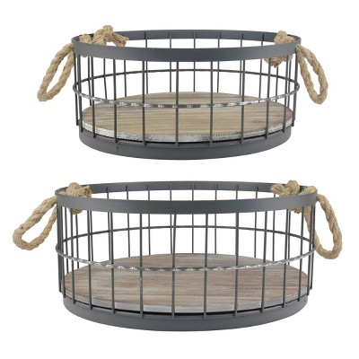 Set of 2 Round Metal Wire Cage and Wood Decorative Baskets with Handles - Stonebriar