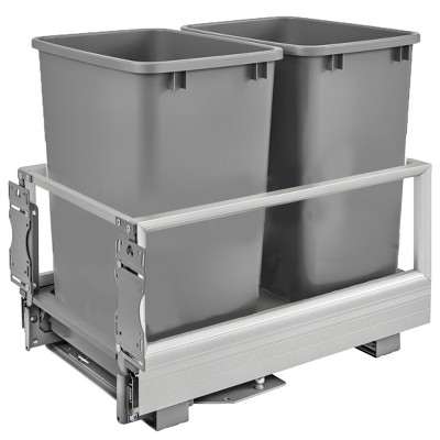 "Rev-A-Shelf 5149-18DM-217 14.2""W x 22""D x 19.5""H Double 35 Quart Pull Out Kitchen Cabinet Waste Container Trash Can with Soft-Close Slides, Silver"