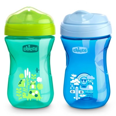 Chicco Rim Spout Trainer Sippy Cup 9M+ - Blue/Teal 2Pk 9oz