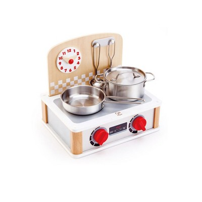 Hape E3151 2-in-1 Wooden Children's Play Toy Kitchen and Grill Cooking Set, Child Safe Wood