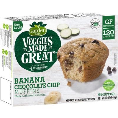 Garden Lites Veggies Made Great Frozen Banana Chocolate Chip Muffins - 12oz/6ct