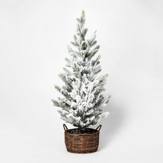 3ft Faux Flocked Pine Tree in Basket Large - Threshold™