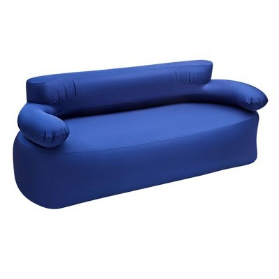 KingCamp Indoor & Outdoor Inflatable Portable Folding Air Lounger Sofa Couch Chair for 2 to 3 People, Foot Pump Included, Navy