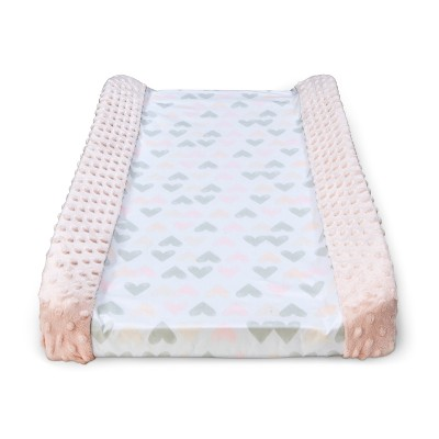 Wipeable Changing Pad Cover with Plush Sides Hearts - Cloud Island™ Pink