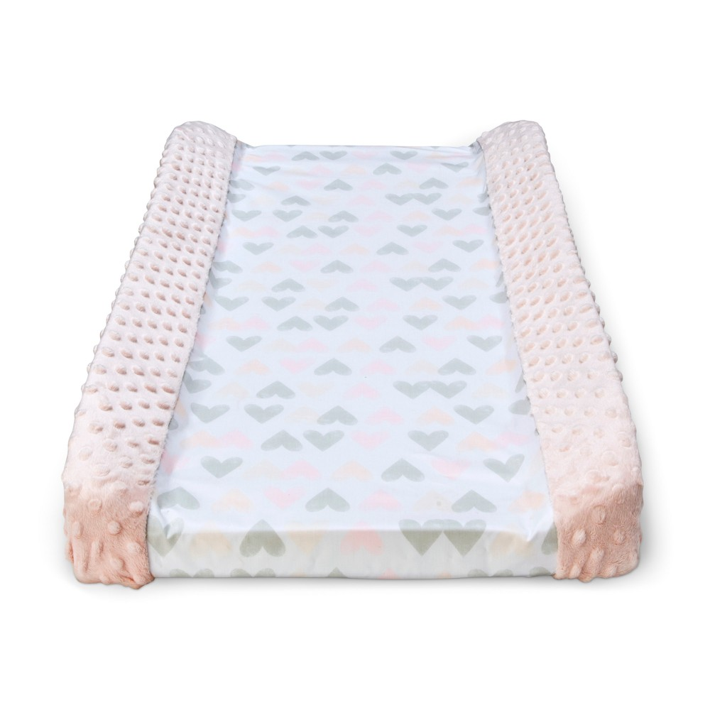Wipeable Changing Pad Cover With Plush Sides Hearts Cloud Island 8482 Pink