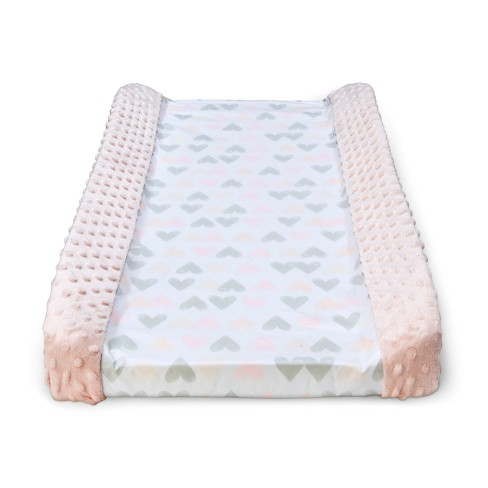 Wipeable Changing Pad Cover with Plush Sides Hearts - Cloud Island™ Pink - image 1 of 2