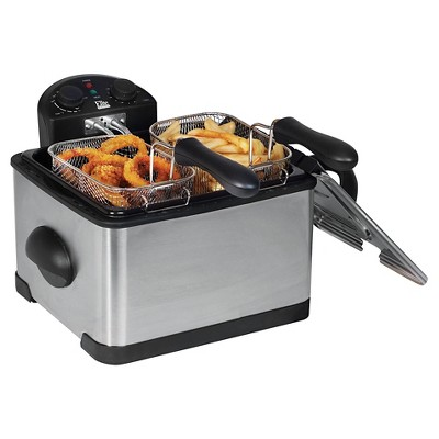 Elite Platinum 4qt Dual Deep Fryer with 3 Baskets