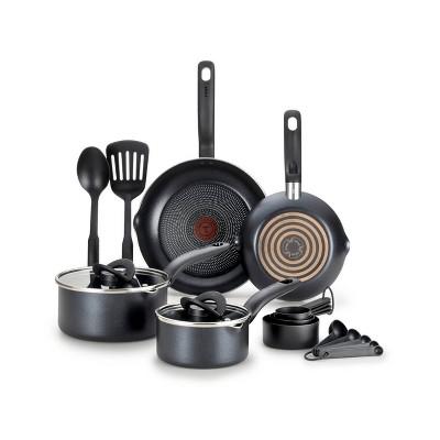 T-Fal 10pc Simple Stack Non Stick Cook Set Black