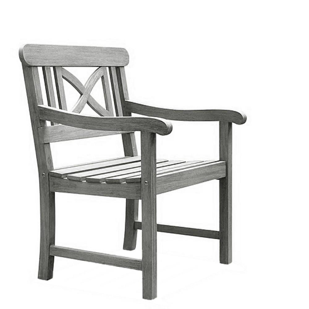 Vifah Renaissance Outdoor Hand-scraped Arm Chair - Gray
