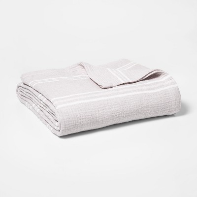 Twin Striped Gauze Bed Blanket Light Gray - Threshold™