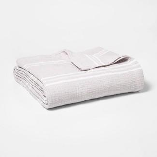 King Striped Gauze Bed Blanket Light Gray - Threshold™