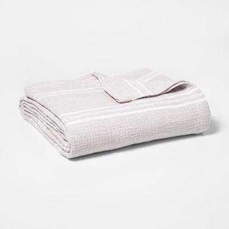 Twin Striped Gauze Bed Blanket Light Gray - Threshold™