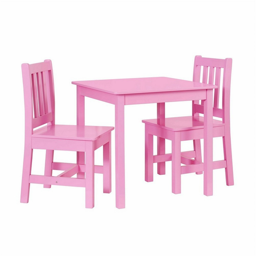 Jaydn Pink Kid Table and Two Chairs Pink - Linon