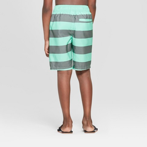 45061e9137 Boys' Rugby Stripe Swim Trunks - Cat & Jack™ Teal/Gray XL Husky : Target
