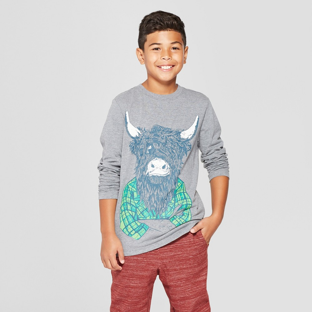 Boys' Highland Cow Long Sleeve Graphic T-Shirt - Cat & Jack Gray M
