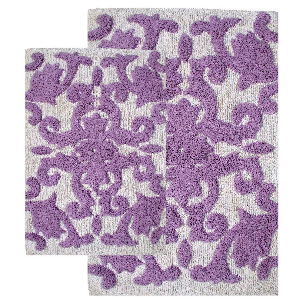 Image of Iron Gate 2 - Pc. Bath Rug Set Lilac & White - Chesapeake Merch Inc., Dark Lilac