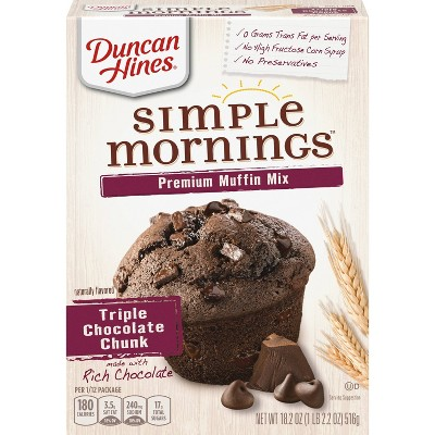 Duncan Hines Simple Mornings Triple Chocolate Chunk Muffin Mix - 18.2oz