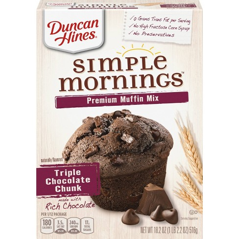 Duncan Hines Simple Mornings Triple Chocolate Chunk Muffin Mix - 18.2 oz - image 1 of 3