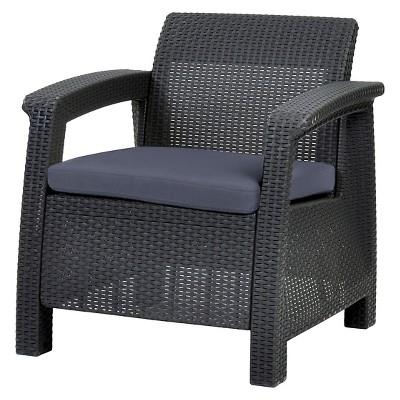Corfu Resin Patio Armchair with Cushion - Gray - Keter